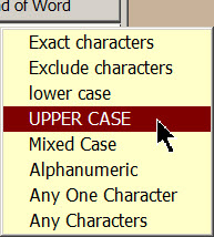 Selecting UPPER CASE from the Characters Menu