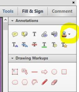 The stamping tool in Adobe Reader