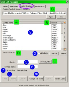 Symbols Definitions Tab in Click List Manager v7.0