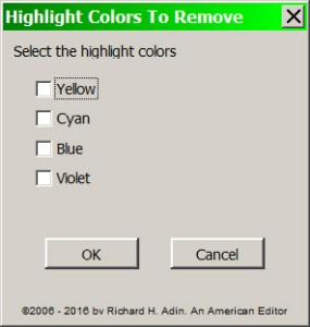 Choose Highlighting to Remove
