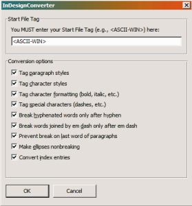 InDesign Converter Options