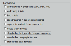 Standardize Font Formats Option