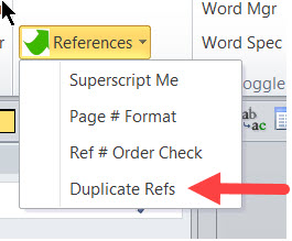 Duplicate Refs on the References Menu
