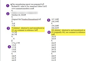 Sample Partial Renumbering Report
