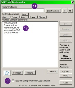 The EditTools Bookmarks interface